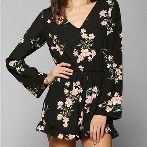 UO Pins and Needle Floral Silky Romper